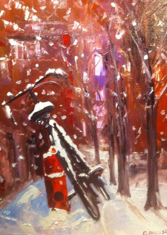 Vélo sous la neige,huile sur toile, 40 x 50